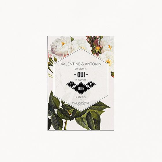 Save the date de mariage fleur, papeterie Jardin botanique