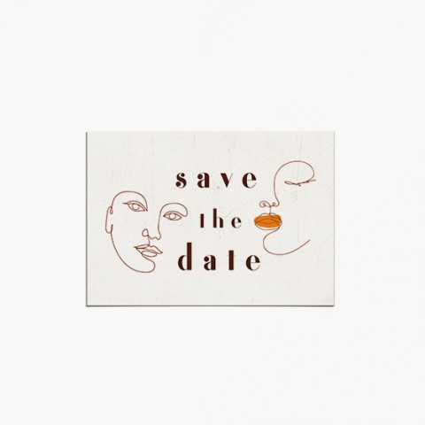 save the date de mariage, matisse, illustration visage mariés moderne, minimaliste recto