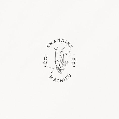 tampon de mariage celestine monogramme main mariés avec prénoms style minimaliste recto