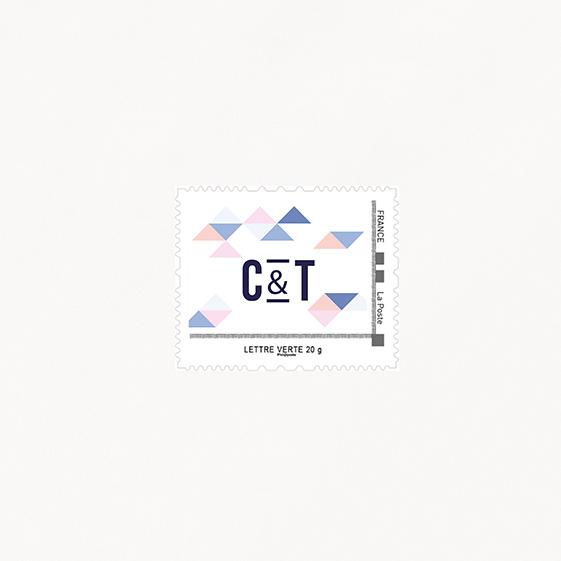 Visuel pour timbre  graphique, papeterie Sweet géometrie recto