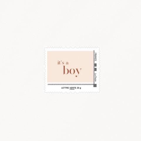 visuel timbre naissance garçon it s a boy  terracotta minimaliste