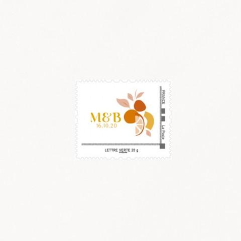 Visuel de timbre de mariage tutti frutti composition moderne fruits