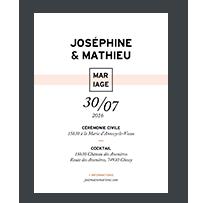 faire-part papier marbre mariage rose graphique