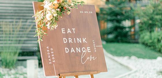panneau bienvenue accueil mariage bois fleurie