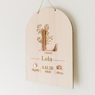 pancarte cadeau naissance decoration murale bois prénom personnalisé