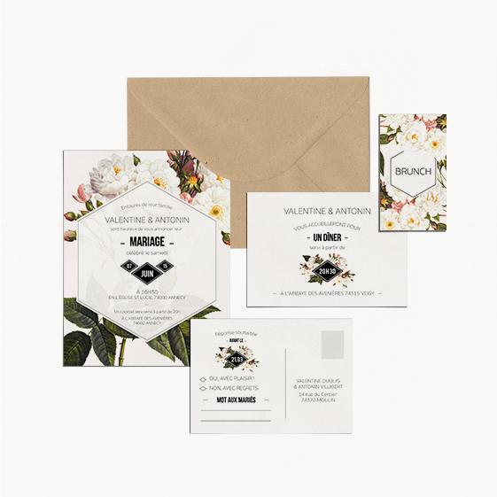 faire-part mariage fleur botanique