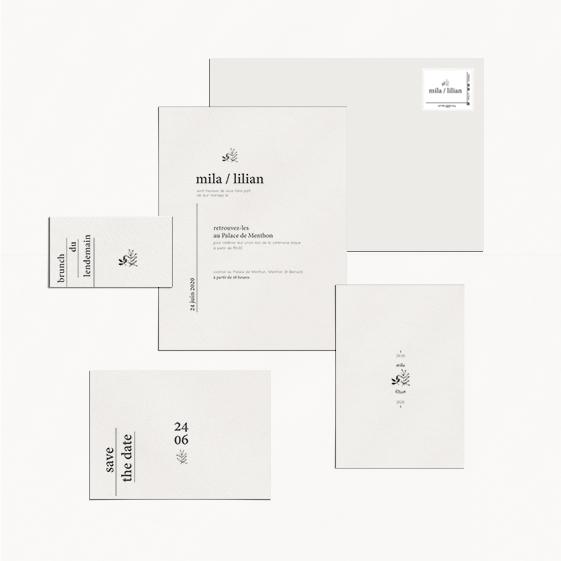 faire-part mariage minimaliste moderne