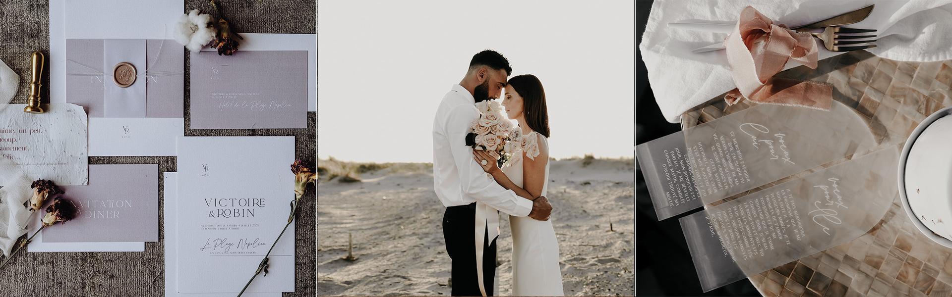 faire-part mariage moderne delicatesse plexi givre